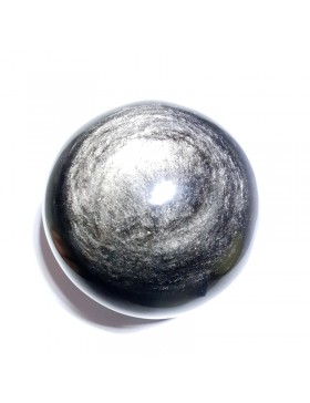 Sphère en obsidienne argentée