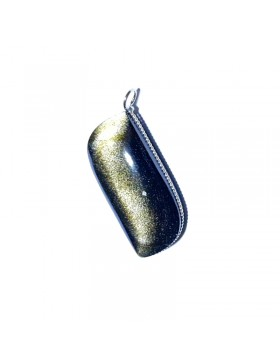 Pendentif en obsidienne doré