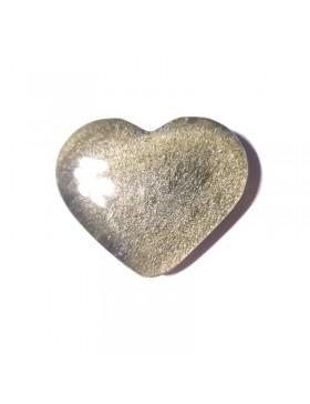 Cabochon en forme de coeur en obsidienne dorée