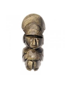 Figurine mexicaine en obsidienne dorée