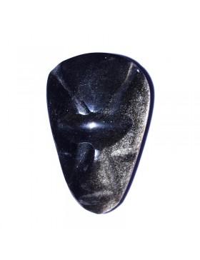Cabochon tête en obsidienne dorée