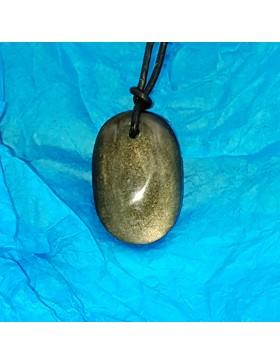 Pendentif en obsidienne dorée