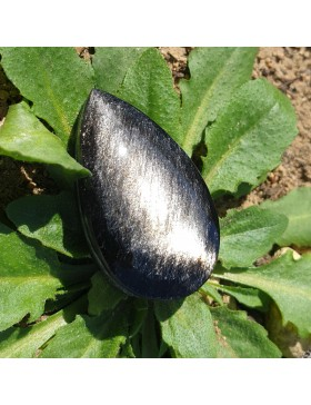 Cabochon obsidienne argentée