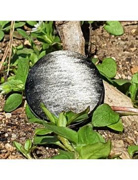 Cabochon en obsidienne argentée