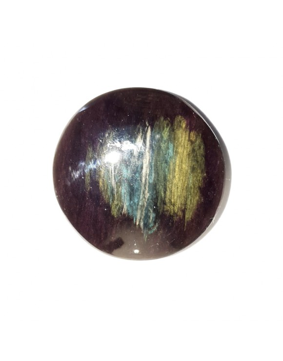 Cabochon en obsidienne manto huichol