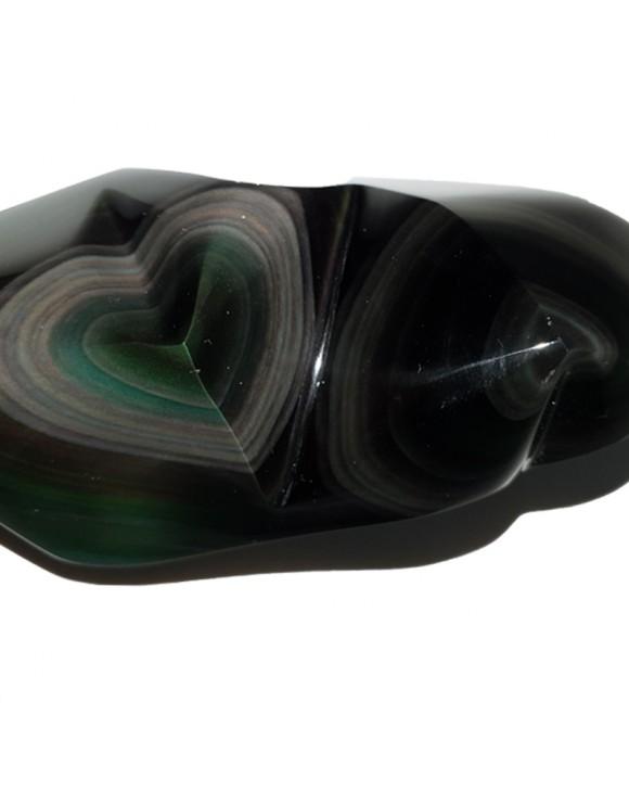 Double coeur AAA en obsidienne Oeil céleste