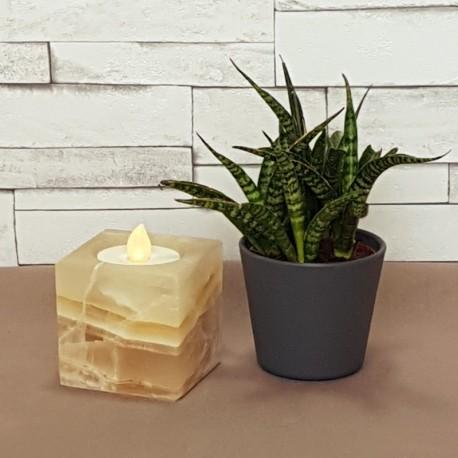 Porte-bougie cube ambre