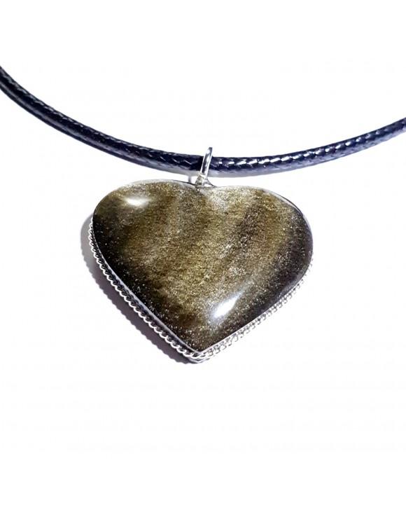 Pendentif cœur en obsidienne dorée