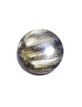 Cabochon rond en obsidienne dorée