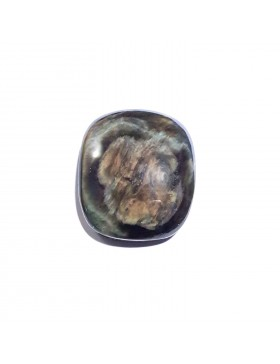 Cabochon rectangle en obsidienne manto huichol