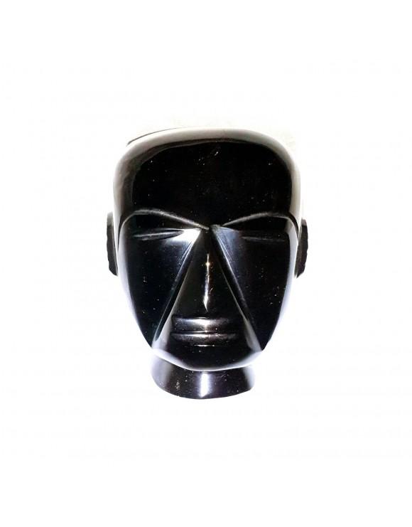 Sculpture en forme de tête en obsidienne noire