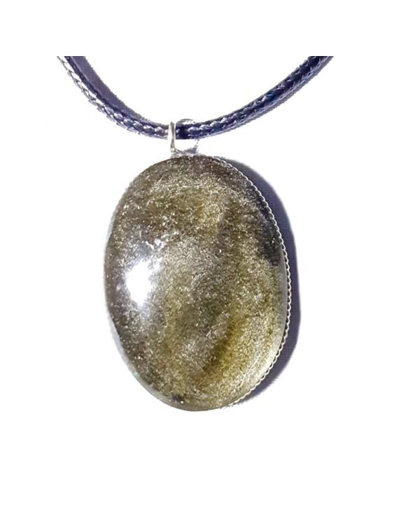 Pendentif ovale en obsidienne dorée