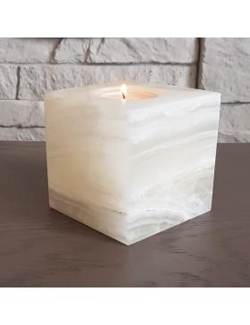 Porte-bougie cube en pierre naturelle