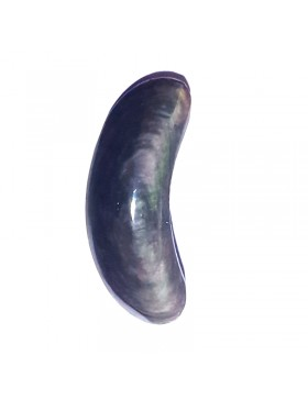 Cabochon lune en obsidienne manto huichol
